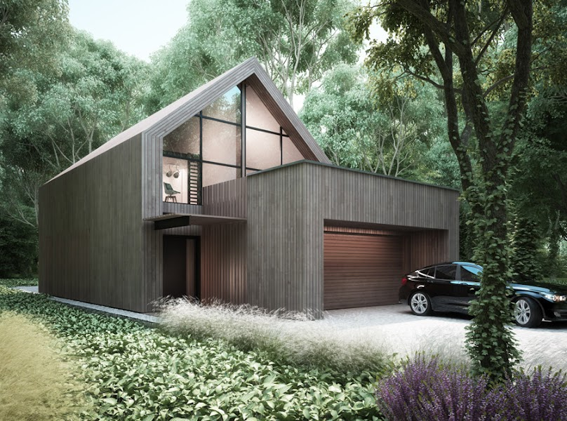 Nowoczesny i prosty projekt z drewnianą elewacją