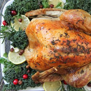 Lemon Rosemary Roasted Turkey with Savoury Hazelnut Stuffing.