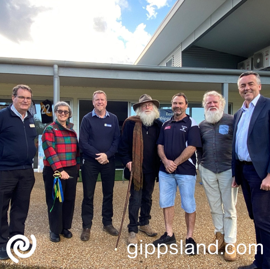 Federal Member for Gippsland Darren Chester pictured with (L-R) East Gippsland Shire Council Cr Arthur Allen, Mayor Cr Mendy Urie, CEO Anthony Basford, Mallacoota Hall and Recreation Reserve CoM President Don Ashby, member Paul Preston and long-time Mallacoota Cricket Club member Bruce Pascoe, at the official opening of the Mallacoota Community Clubrooms on Sunday