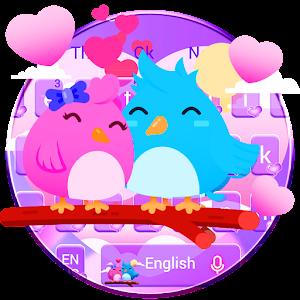 Purple Cute Love Birds Couple Keyboard Theme