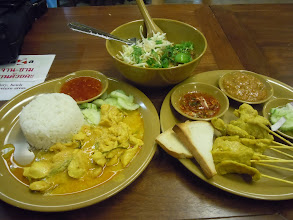Photo: Panang curry, moo satay, and khao soi behind