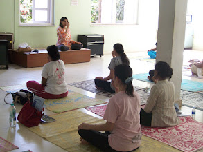Photo: 1 Month YTT Course - Batch of May 2008 - Jeenal Mehta conducting Pranayama's Class (students performing Anuloma Viloma Pranayama).