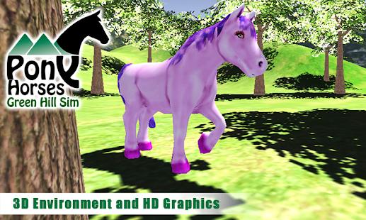 Pony-Horses-Green-Hill-Sim-3D