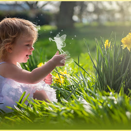 Magic In the Daffodils by Natasha Garner - Babies & Children Child Portraits ( child, girl, children, toddler, flowers, spring, portrait )