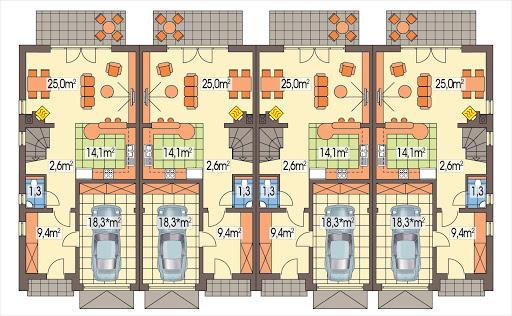 Hubert 2 zestaw 4 segmentów PL+S+SL+P - Rzut parteru