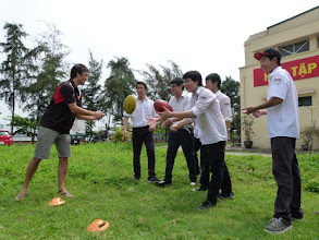 Photo: Australian Education Trade Fair, Hanoi. Adrian Enright helps out.