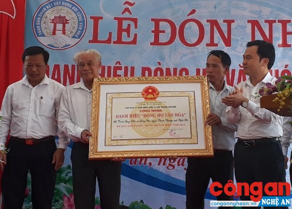 """Nhà thờ Đại tôn họ Trịnh, xã Đồng Văn, huyện Thanh Chương được công nhận """"Dòng họ văn hóa"""" cấp huyện"""
