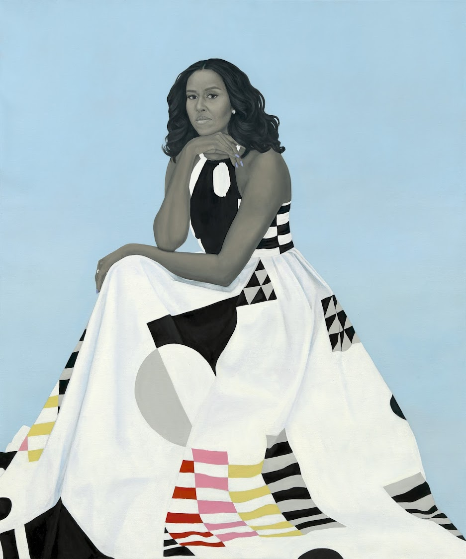 Amy Sherald rendered Michelle Obama in her trademark grayscale, with only a few splashes of colour.