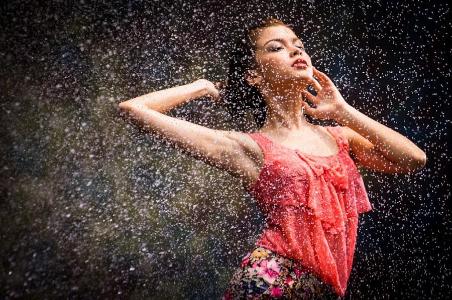 Dancing to the Rain by Jefry Hamjaya - People Portraits of Women ( model, motion, water splash )