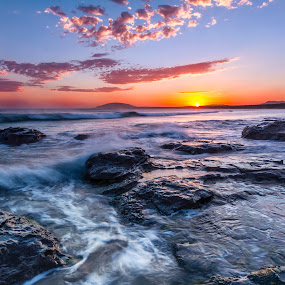 Sunset at Gerroa by Andy Hutchinson - Landscapes Sunsets & Sunrises ( sunset, waves, australia, pacific, nsw, surf, rocks, gerroa )