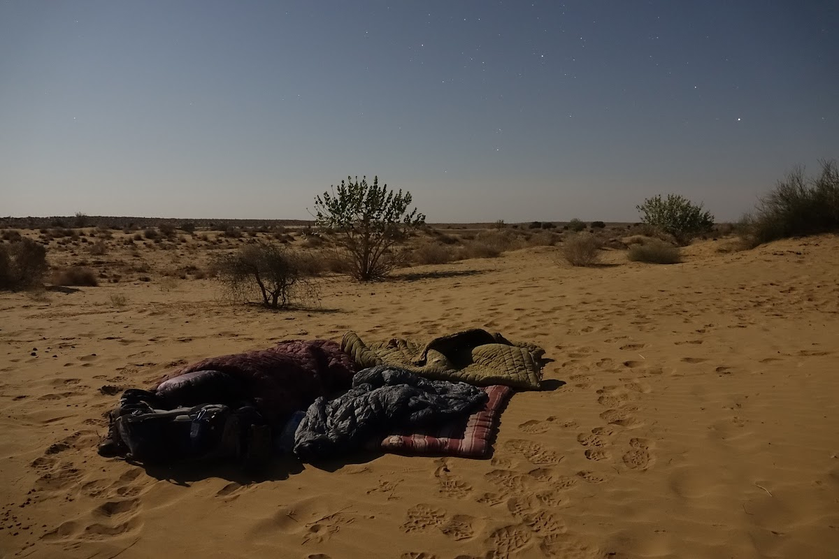 India. Rajasthan Thar Desert Camel Trek. Sleeping under the full moon and stars
