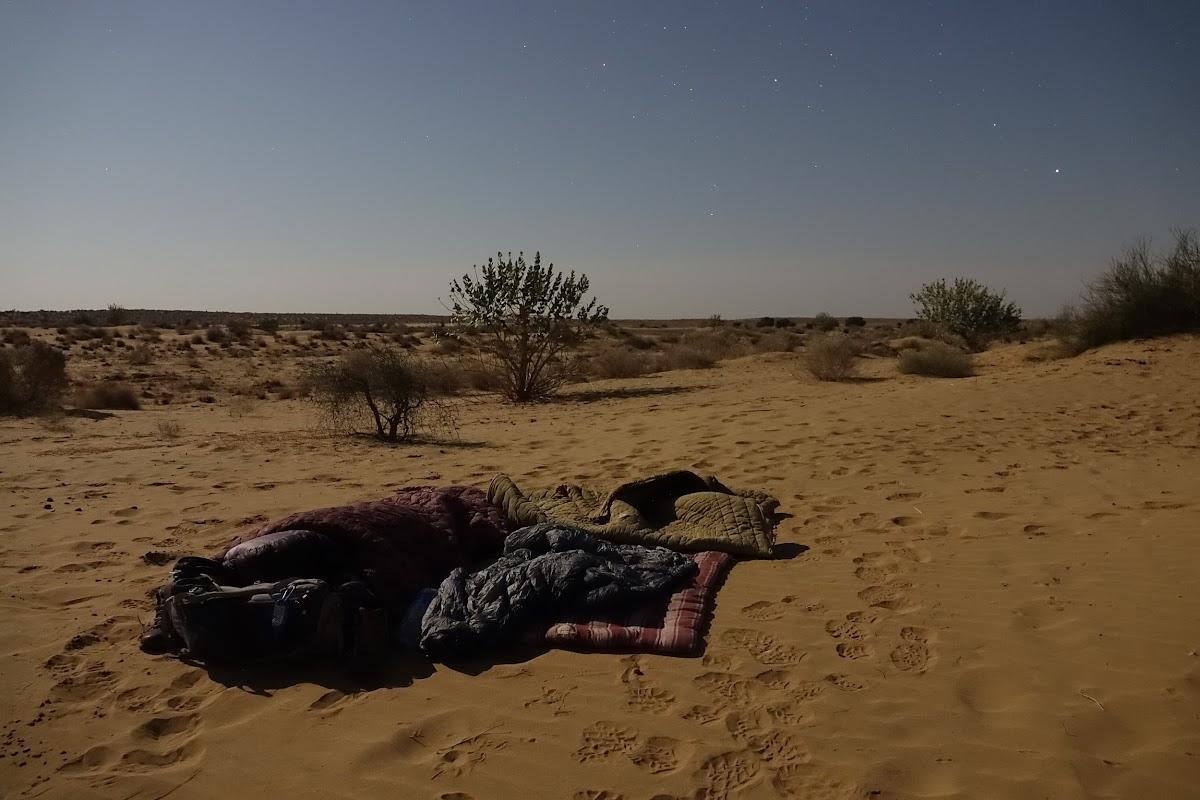 India. Rajasthan Thar Desert Camel Trek. Sleeping under the full moon and stars