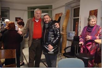 Photo: FINISSAGE DER AUSSTELLUNG JAIME CARVAJAL am 20.3.2015. Otto Zell mit Pablo Cameselle, rechts Lisa Venus. Foto: Herta Haider