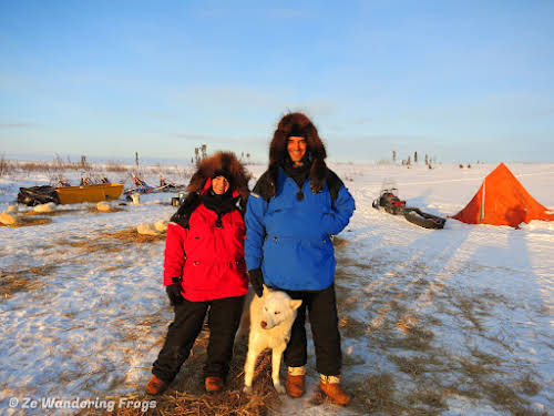 Arctic Canada Inuvik Winter Camping Tundra Dog Sledding // Bruno and I enjoying our Arctic winter camping adventure