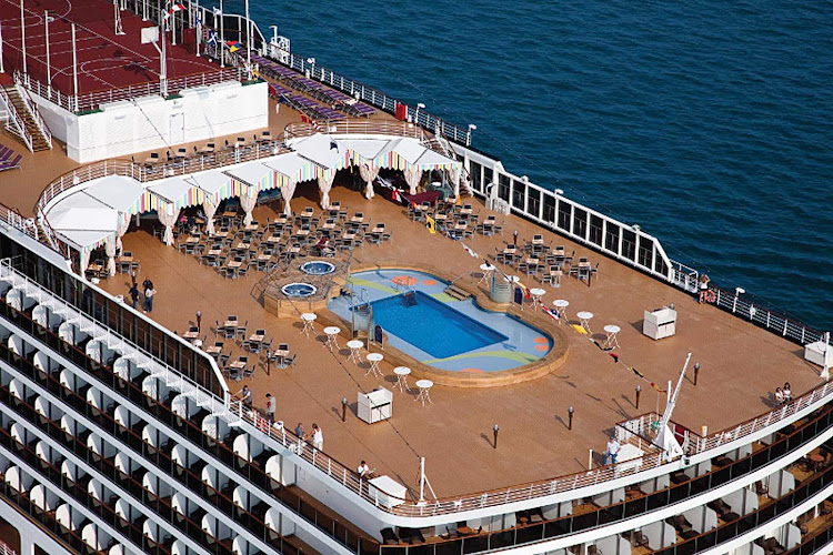 An aerial view of ms Amsterdam's Lido pool deck.