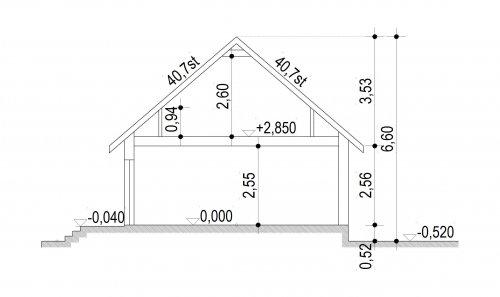 Domek Lipowy szkielet drewniany 020 Jk V2 - Przekrój