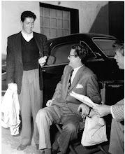 "Photo: Farley Granger, Robert Walker, and Dick Landry on the set ""Strangers on a Train"""