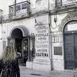Gun Shop by Edison Pargass - City,  Street & Park  Markets & Shops ( gun, lisbon, firearms, gun shop, portugal, old building, pistol )