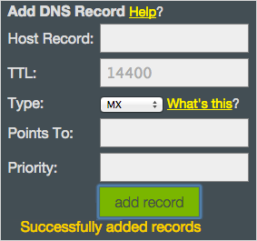Successfully Added Records! confirmation message