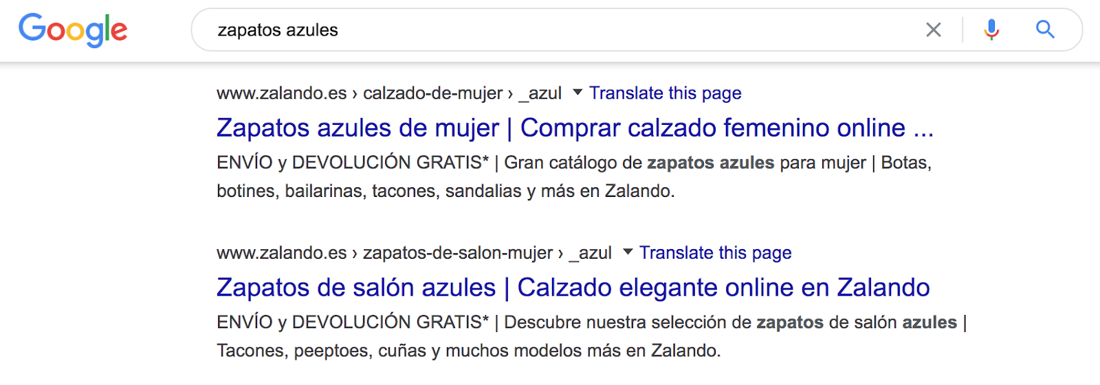 Spanish multilingual seo search for blue shoes in target language