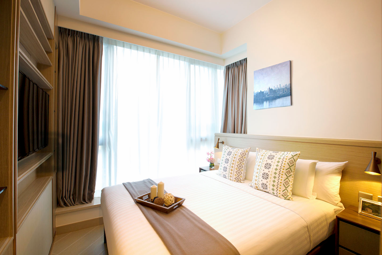Luxury bedroom at Soho Serviced Apartment, Hong Kong