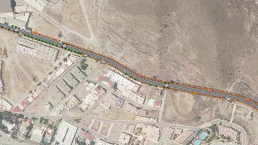 Mapa del tramo de la avenida que se remodelará, en una imagen de Diputación.