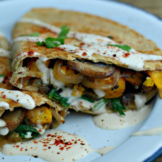 Roasted Pumpkin and Mushroom Quesadillas With Ancho Chili Cream [Vegan, Gluten-Free].