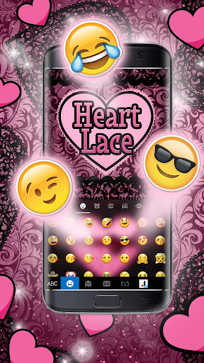 Pink Lace Heart Keyboard Theme screenshots 3