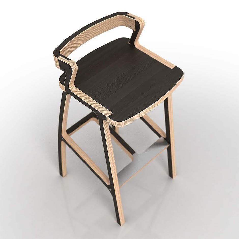 Барный стул из фанеры - вид сверху