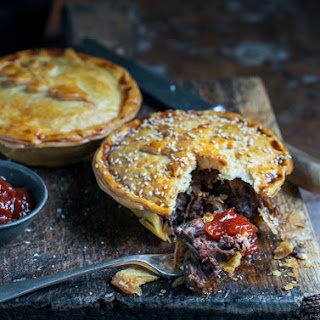 Beef, Bacon and Mushroom Pies with Caramelised Onion