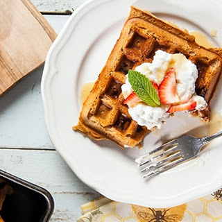 Strawberry Protein Waffles with Whipped Cream Recipe