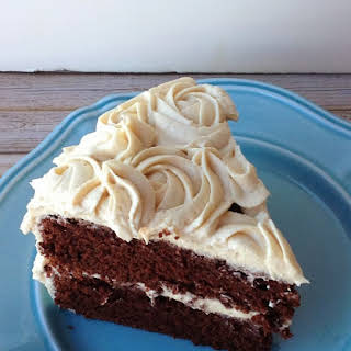 Chocolate Liquor Cake with Peanut Butter Buttercream Frosting.