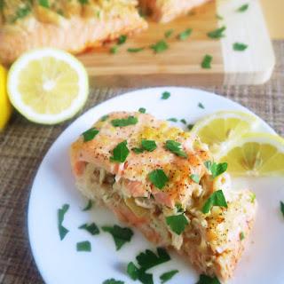 Lemon Butter Crab Stuffed Salmon (Paleo, Low Carb).