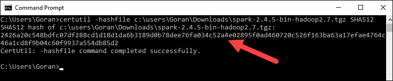 Checksum output for the Spark installation file.