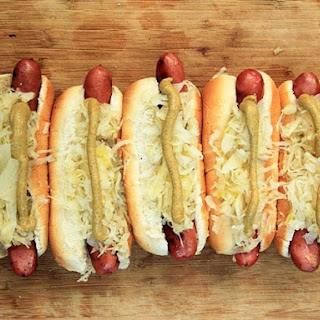 Grilled Hot Dogs With Sauerkraut.