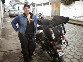 Photo: Paula, surviving the mud run, poses for a shot as we stop in a 10x10' shop for a soda.