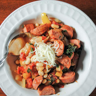 Turkey Sausage with Peppers, Beans and Kale - a One Pan Meal.