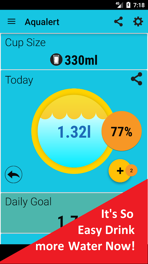 Aqualert:Water Tracker Intake Reminder Google Fit- screenshot