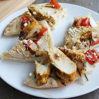 Grilled Chicken & Vegetable Flatbread with Hummus.