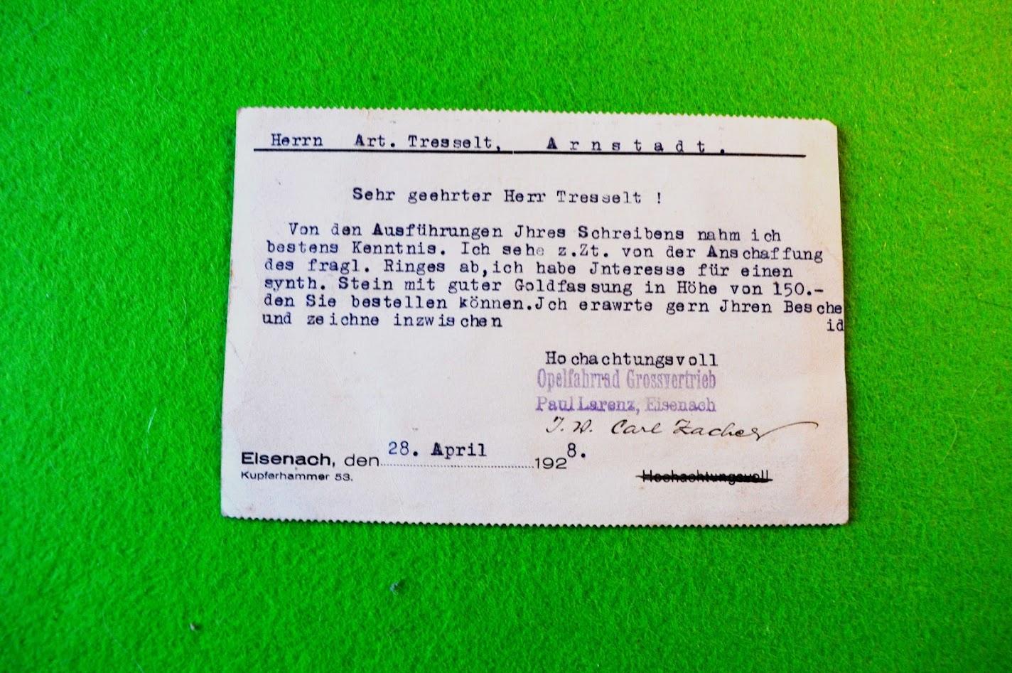 Brillant-Ring Bestellung - 1928