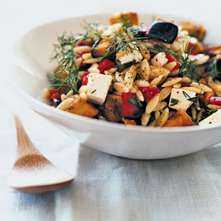 Manouri, Eggplant and Orzo Salad
