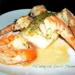 Pan Seared Cod and Shrimp.