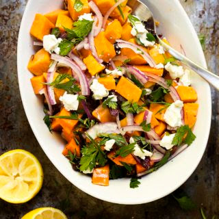 Cold Sweet Potato Salad with Cranberries and Pecans.