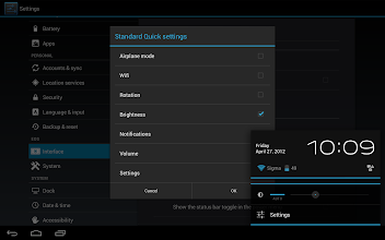 Photo: Disabled all of the default settings items but brightness and the settings shortcut