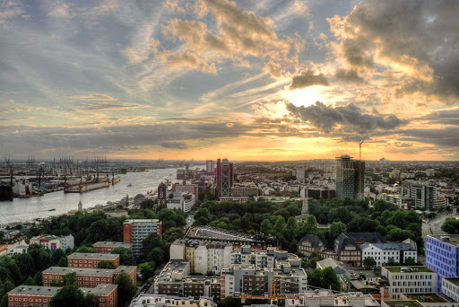 Germany-Hamburg-sunset - Sunset over Hamburg, Germany.