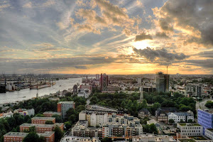 Sunset over Hamburg, Germany.