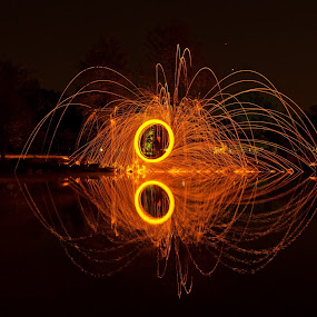 Steel Fire by James Reil - Abstract Light Painting ( reflection, light painting, steel wool, long exposure, burning, steel, wool )