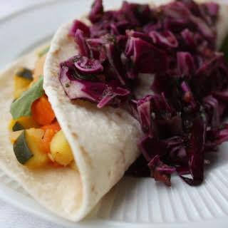 Vegan Veggie Tacos with Red Cabbage-Cilantro Slaw.