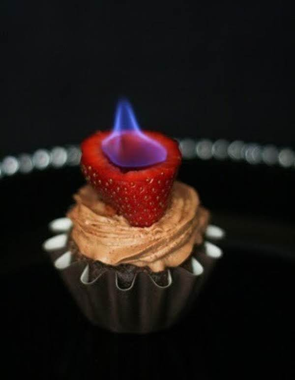 Chocolate Cupcakes With Flaming Strawberries Recipe