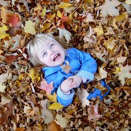 Leaf Fun by Carrie White - Babies & Children Children Candids ( autumn, children, leaf,  )